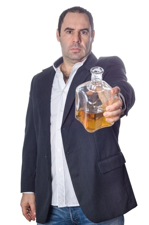 drunk  man offering a bottle of whisky over a white background
