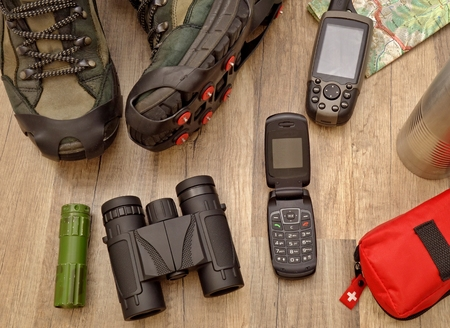 navigation aid: equipment for winter hiking Stock Photo