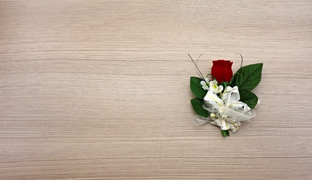 corsage: rose as wedding decoration for the groom Stock Photo
