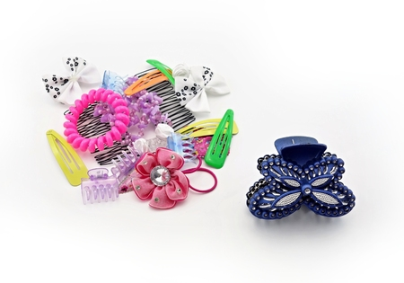 hairpin: various hair accessories for young girls on a white background Stock Photo