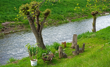 garden furniture: wood chairs, garden furniture at the river