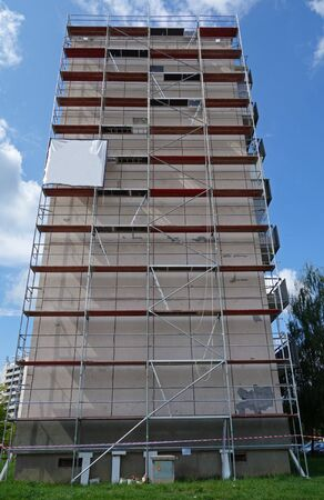 building character scaffolding on the wall of a residential building