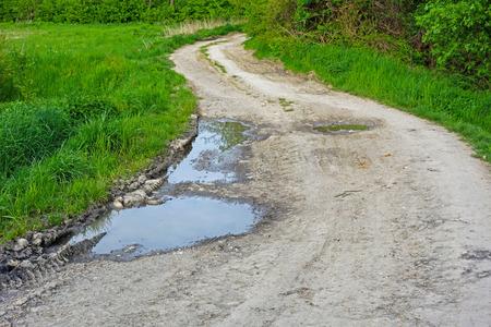 macadam: macadam road turns and the pool of water