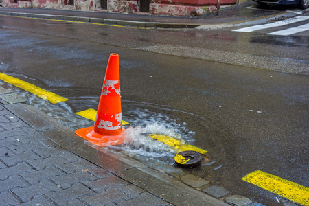 red cone on the road when the water supply fails Stock fotó