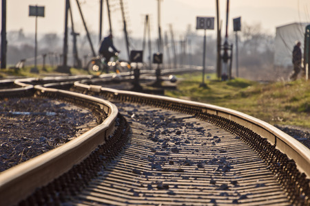 rail transport, rails with crossovers and blurred background
