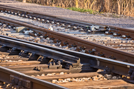 rail transport, rails with switches and blurred background