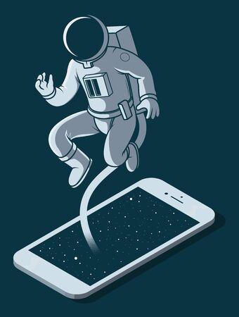 Astronaut touching screen phone vector illustration