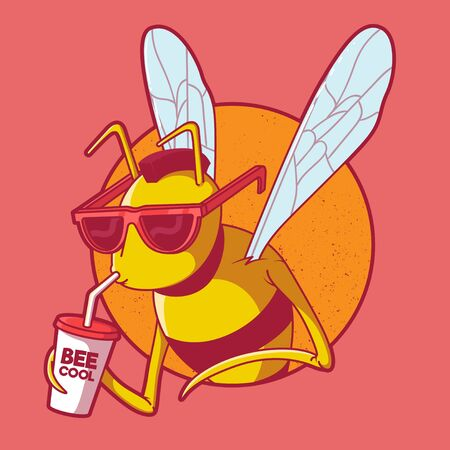Honey character drinking a soda and looking cool vector illustration. Food, marketing, logo, honey, bee, company, business design concept Ilustração