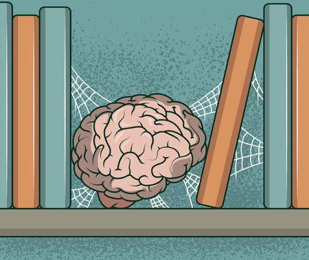 Cerveau stocké dans une illustration vectorielle d'étagère de livre. Concept de conception de connaissances