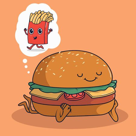 Burger character dreaming of french fries vector illustration. Fast food, snack, restaurant design concept.