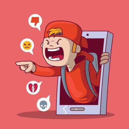 Mobbing-Kind-Konzeptillustration. Bully, Technologie, Kommunikation, Sicherheitsdesignkonzept
