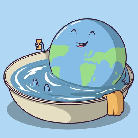 Earth Cooling down vector illustration. Global Warming design concept Vettoriali