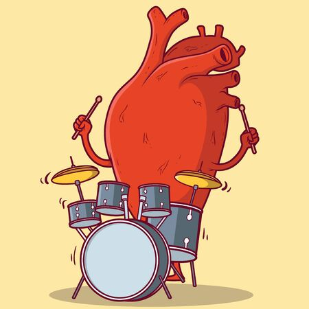 Heart Playing drums vector illustration. Health, Beating Heart design concept