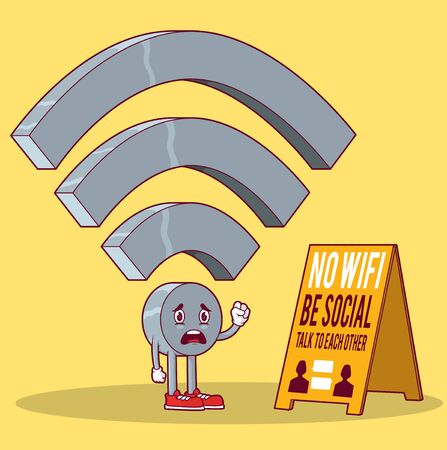 Wifi icon Character vector illustration. Social people design concept