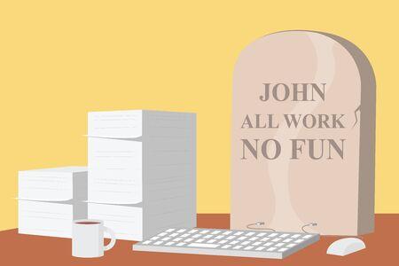 Graveyard in the office vector illustration. Work, depression, tired design concept 向量圖像