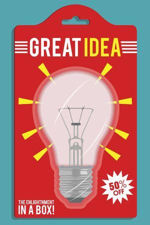 Great Idea, lightbulb vector illustration. Imagination, ideas, work design concept