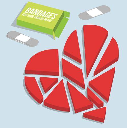 Broken heart vector illustration. Bandages box design Vector Illustration