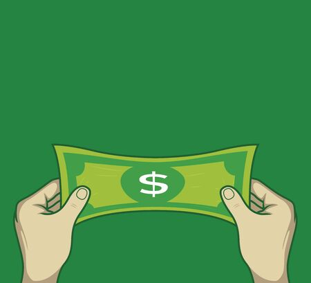 Person Stretching Money vector illustration. Economy, bank design concept