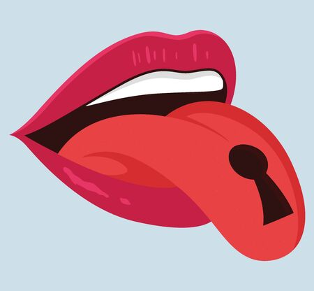 Mouth with keyhole illustration. Silence vector design