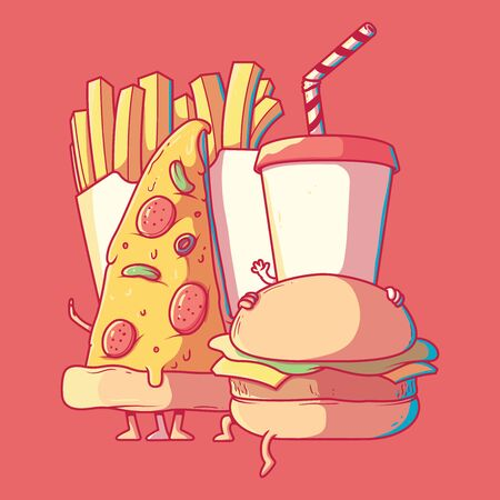 Fast food character vector illustration. Food, healthy, diet design concept