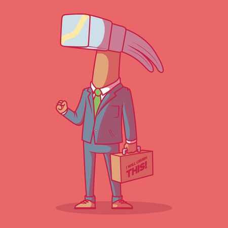 Businessman Hammer vector illustration. Corporate, business, growth design concept Ilustracja