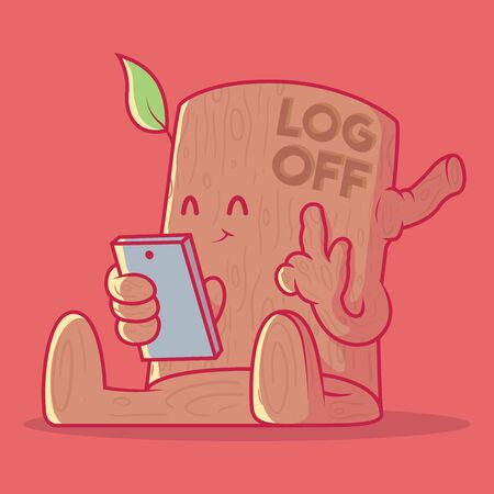 Wood Character with a cellphone vector illustration. Connection, technology, signal, internet design concept