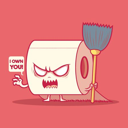 Toilet paper roll character vector illustration. Bathroom, clean, hygiene design concept