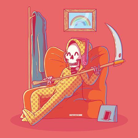 Reaper in pajamas vector illustration. Quarantine, home, living, technology design concept