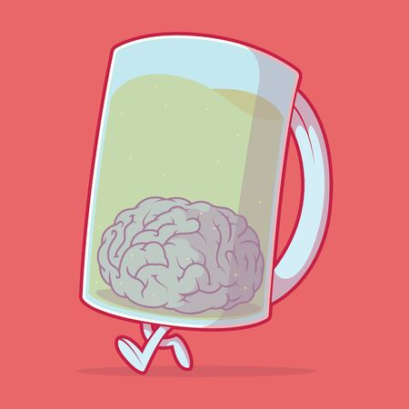 Beer Mug Character vector illustration. Drink, brain, intelligence, party, weekend design concept