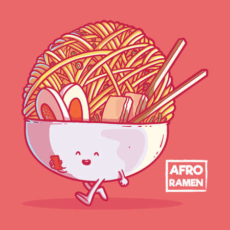 Afro Ramen character vector illustration.