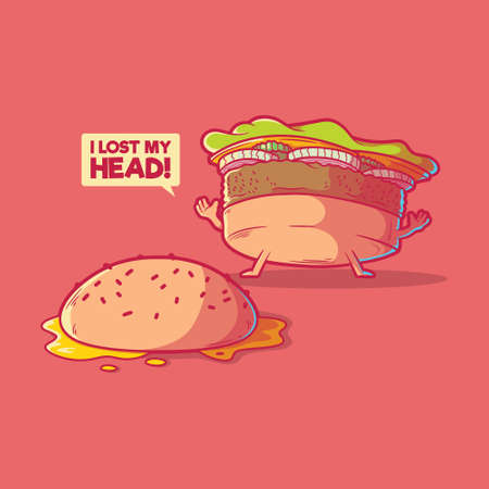 Burger character vector illustration. Fast food, funny, lost mind design concept