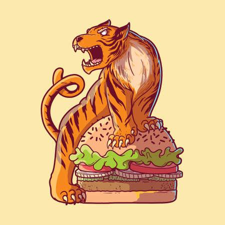 Tiger burger vector illustration. Fast food, takeaway, animal design concept