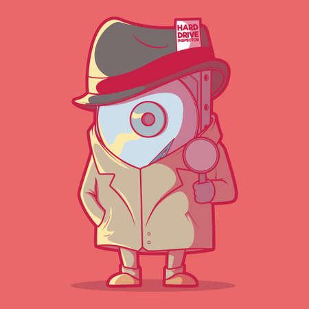 Hard Drive detective vector illustration. Electronics, technology, storage design concept Illusztráció