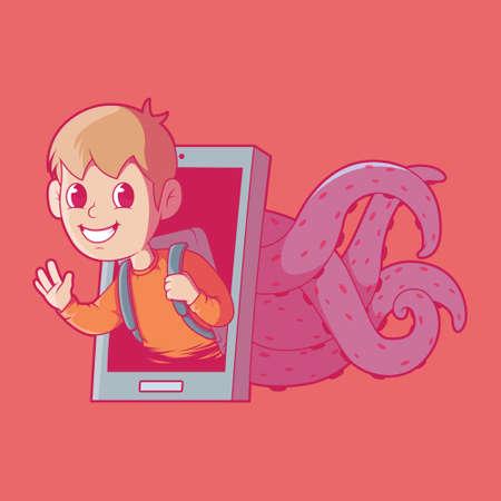 Online Predator vector illustration. Technology, social media, sharing, hacker design concept. Vectores