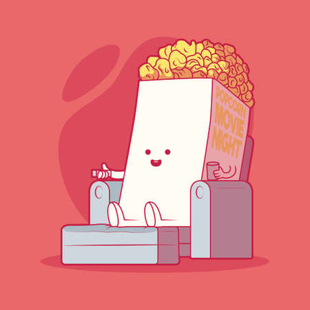 Popcorn watching movie vector illustration. Movie, technology, relaxation, food design concept.