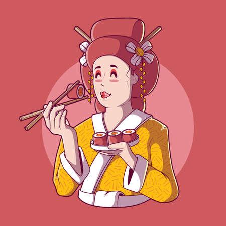 Geisha Eating Sushi vector illustration. Food, tradition, brand design concept. 向量圖像