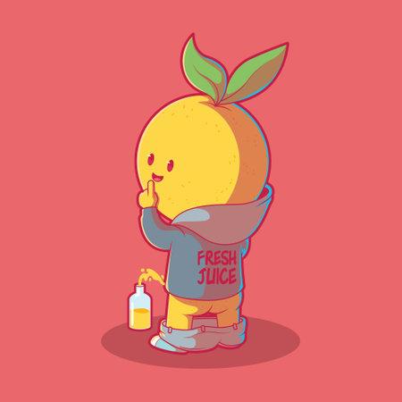 Lemon character peeing in a bottle vector illustration. Fruit, mascot, funny design concept. Vector Illustration
