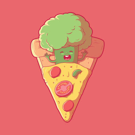 Broccoli character sleeping in a slice of pizza vector illustration. Food, funny design concept.