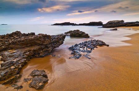 Plages asturiennes au coucher du soleil, l'Espagne