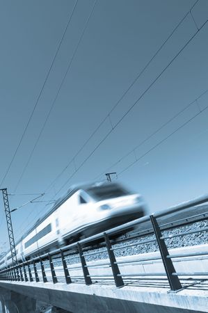 high angles: Blue speed train with clear sky