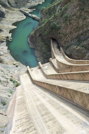 View of hydroelectric dam Escales from above photo