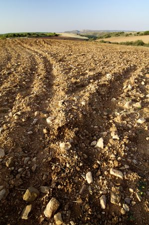 tilth field waiting to be cultivated, Saragossa, Spain Stock Photo - 5930857
