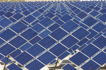 Detail of a huge solar field photo