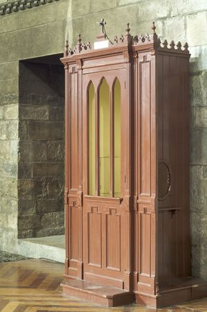 lattice window: Confessional in Saint Peter cathedral, Jaca, Spain