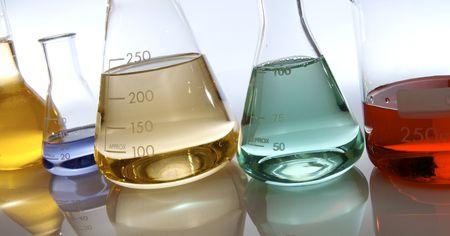 matrass: several glassware with color liquid Stock Photo