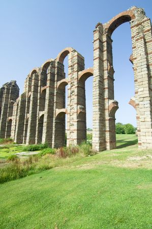 buttresses: Miracles aqueduct in Merida, Spain Stock Photo