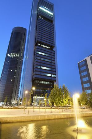 frontage: skyscrapers at dusk in the city of madrid Stock Photo