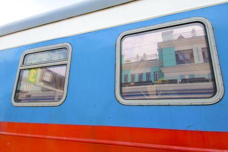 Old wagon and windows in transmongolian train photo