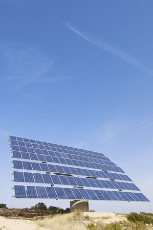 lonely solar panel with blue sky Stock Photo - 5999369