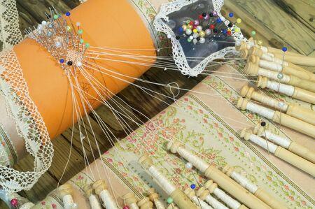 bobbin: Detail of spanish bobbin lace Stock Photo